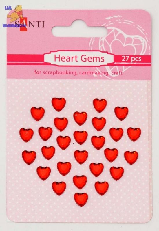 Набор страз самоклеющихся сердечки красные, 27 шт