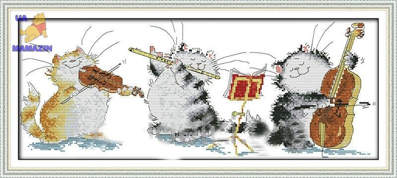 Набор вышивки крестом Кошачье трио