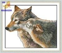 Вышивка крестом Поцелуй волка