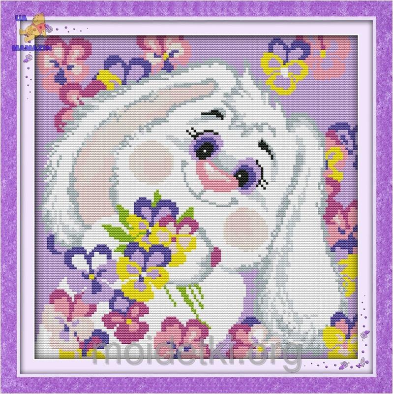 Вышивка крестиком Белый кролик 2