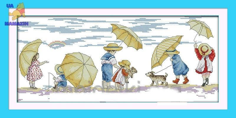 Вышивка крестиком Дети на пляже 1