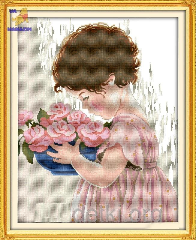 Вышивка крестом Девочка с цветами