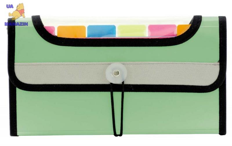 Папка на резинке 7 цветных карманов - зеленая