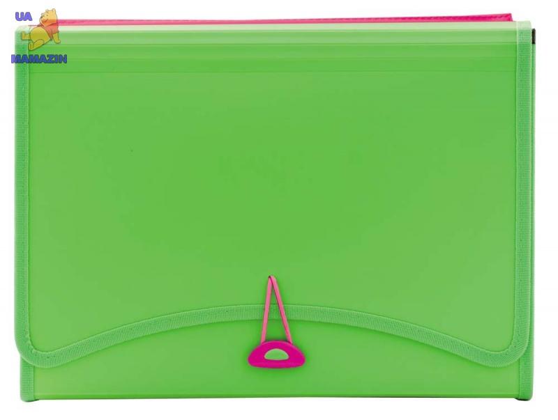 Папка с файлами 13 отделений +2 кармана - неоновый зеленый