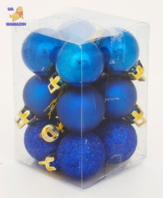 Шар d-3 cм 12шт/уп, синий
