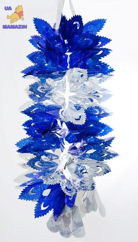 """Новогоднее украшение """"Снежинка"""",  40см, голубое"""