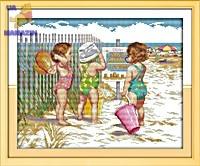 Вышивка крестиком Пляжницы