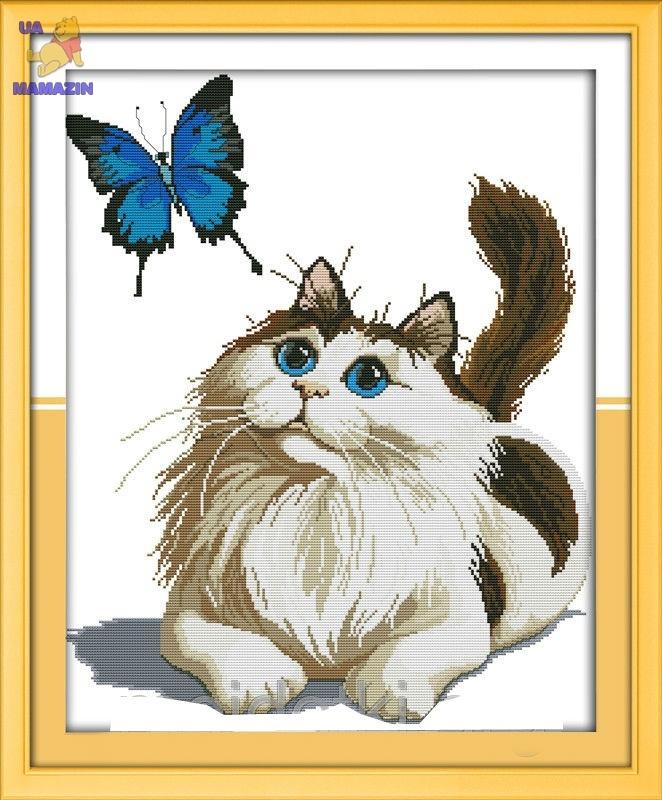 Набор для вышивки крестом Кот и бабочка