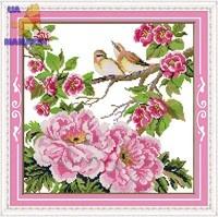 Вышивка крестом Птицы на цветах