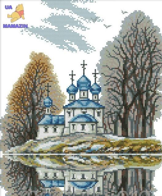Вышивка крестиком Маленькая церковь