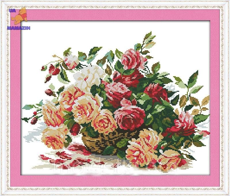 Вышивка крестиком Корзинка с розами