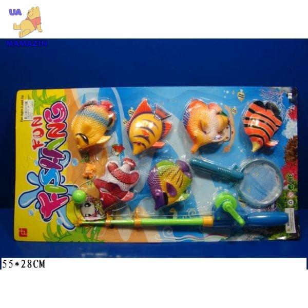 Рыбалка детская - шесть рыбок, удочка, сачек