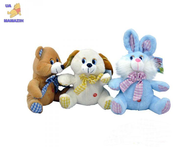 Мягкая игрушка музыкальная, микс (зайчик, мишка, собачка)