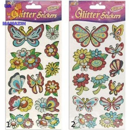 Наклейки блестящие Бабочки-Цветочки