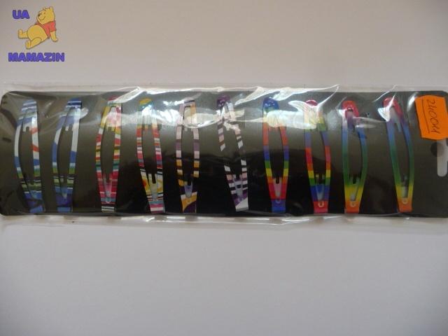Зажим-заколка металлический цветной