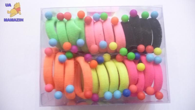 Резинка тонкая, цветная, с 4 цветными шариками, в уп. 24 шт