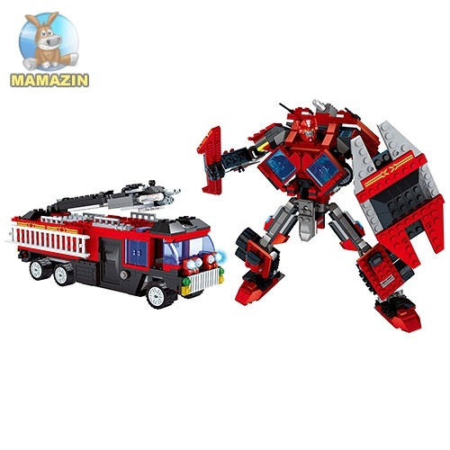 Конструктор AUSINI 2в1 пожарная машина, робот, 429 деталей