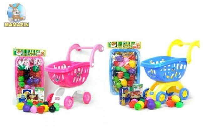 Тележка супермаркет с продуктами