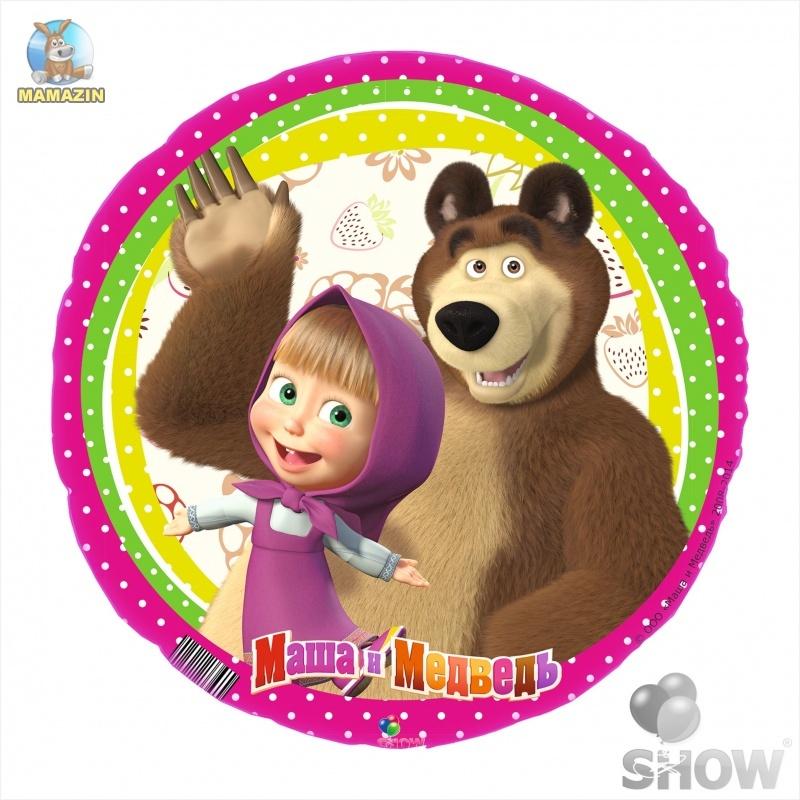 """Шар фольгированый, 18"""" круг """"Маша и Медведь"""""""