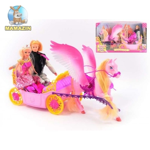 Карета, с лошадью и куклами