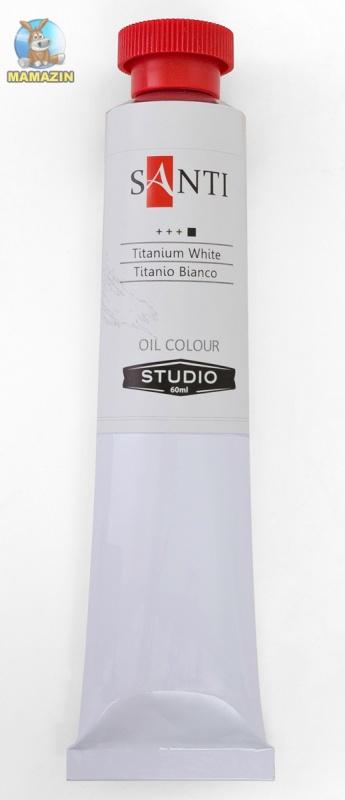 Краска масляная Santi Studio 60мл Белила цинковые титановые