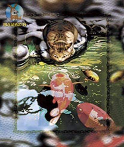 Вышивка бисером «Кот и карпы кои»