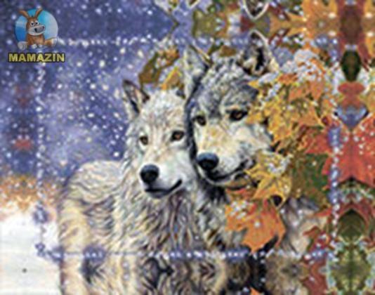 Вышивка бисером «Пара волков»