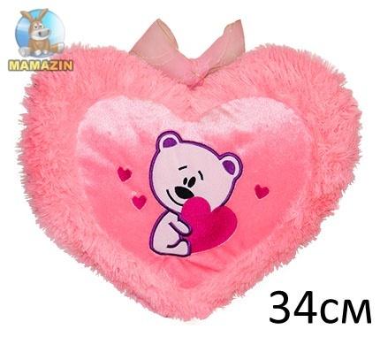 Подушка Сердце (Мишка с сердцем), травка