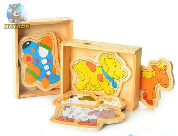 Деревянная игрушка пазлы , 2 вида (животные, транспорт)