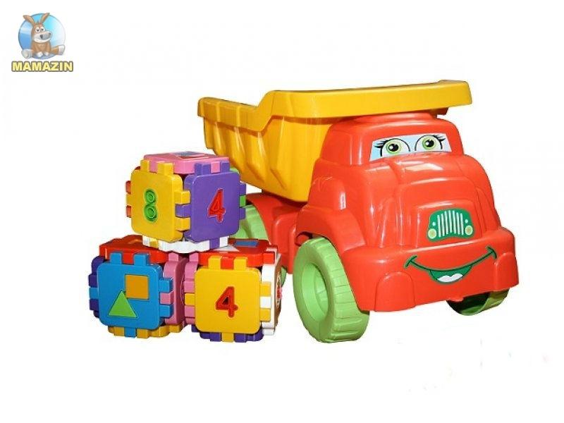 Набор №4 (машина Смайл) с конструктором (красно-желтая)