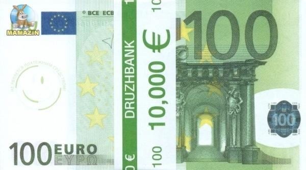 """Пачка денег (сувенир) Евро """"100"""""""