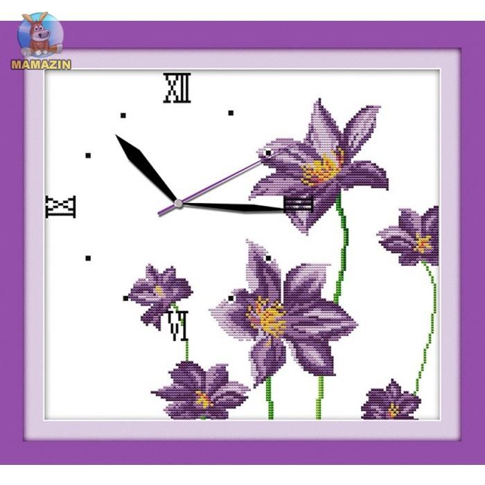Вышивка крестиком Часы. Цветочный аромат