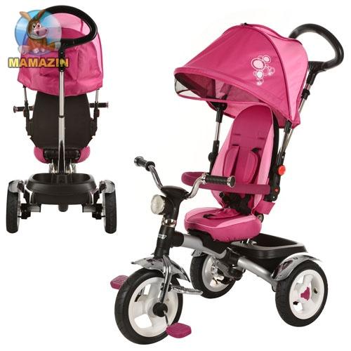 Детский трехколесный велосипед Turbo Trike, Розовый (поворот сиденья 360 градусов)