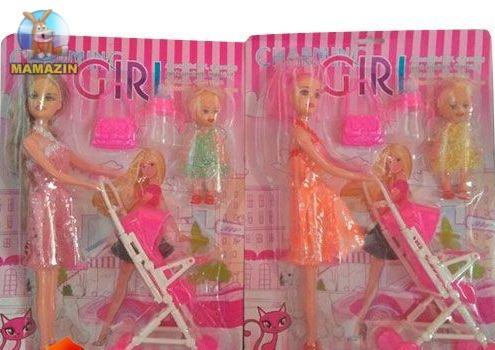 Кукла с дочкой в коляске