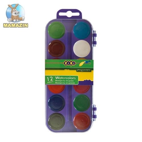 Краски акварельные 12 цветов (фиолетовый)