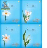 """Тетрадь в линию, 12 листов """"Белые цветы"""""""