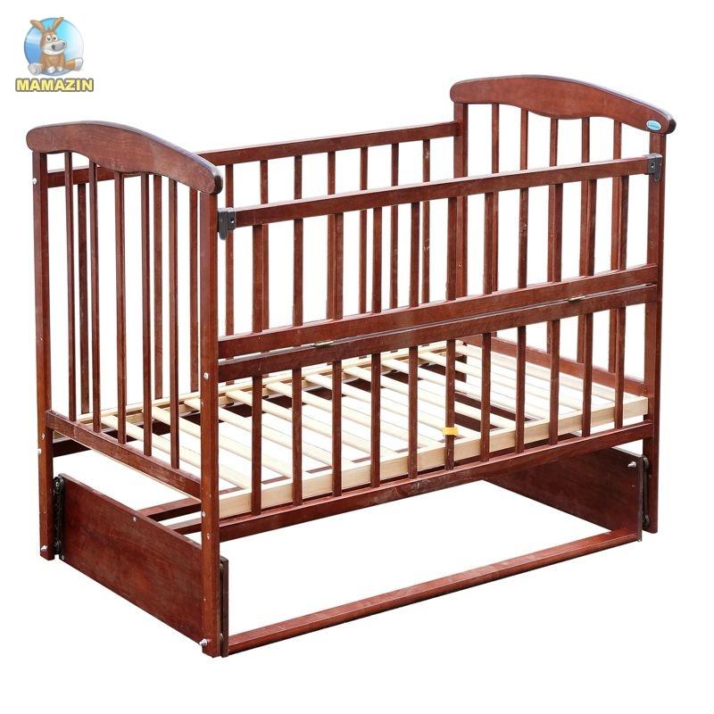 """Кроватка деревянная """"Наталка"""" маятник, ольха"""