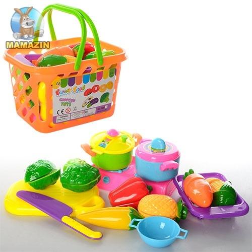 Продукты на липучке в корзинке с плитой