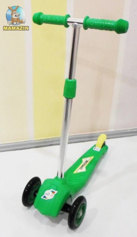 Самокат трехколесный зеленый