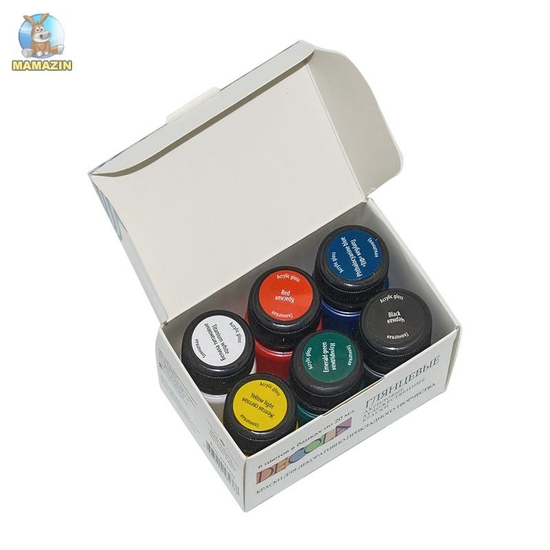 Краски акриловые DECOLA глянцевые 6 цветов, 20 мл