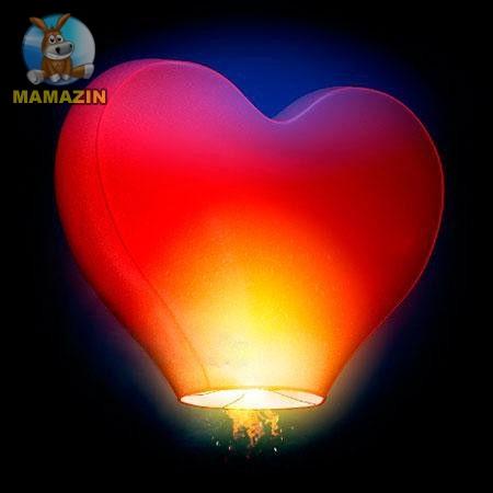 """Небесный фонарик """"Сердце"""" 29*60см (цвет в ассортименте)"""