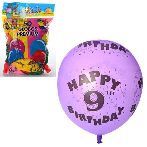 Шарики надувные набор День рождения (цифры 0-9)