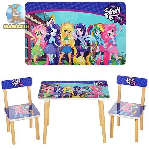 """Столик деревянный + 2 стульчика """"Пони"""""""