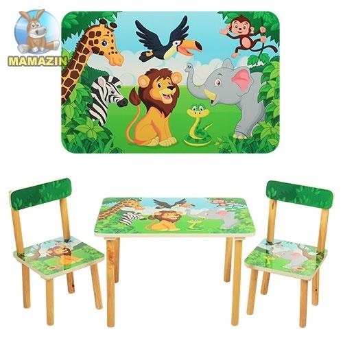 """Столик деревянный + 2 стульчика """"Зоопарк"""""""