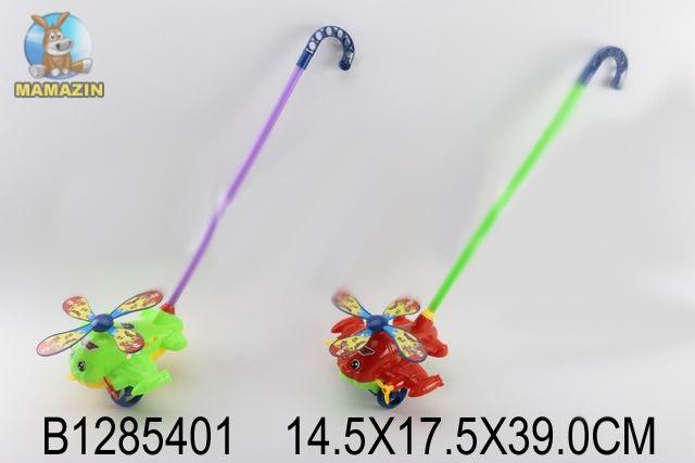Каталка вертолет на палочке (цвет в ассортименте)