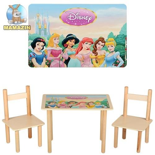 """Столик деревянный + 2 стульчика """"Принцессы"""""""