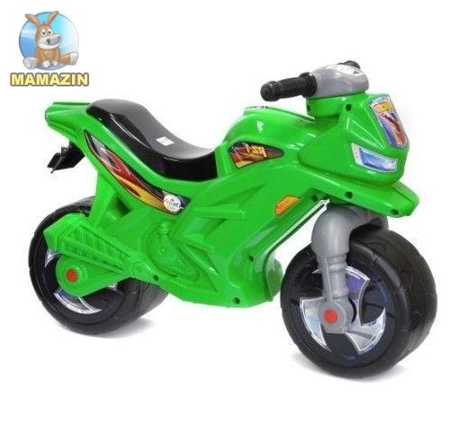 Мотоцикл 2-х колесный с сигналом, зеленый