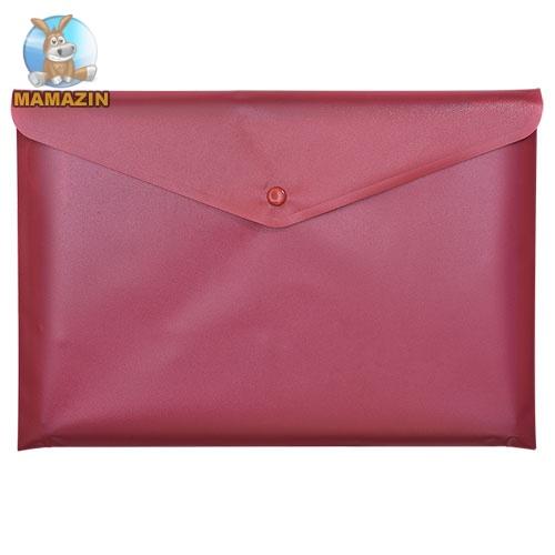 Папка-конверт А5 на кнопці, JOBMAX, непрозора, червоний