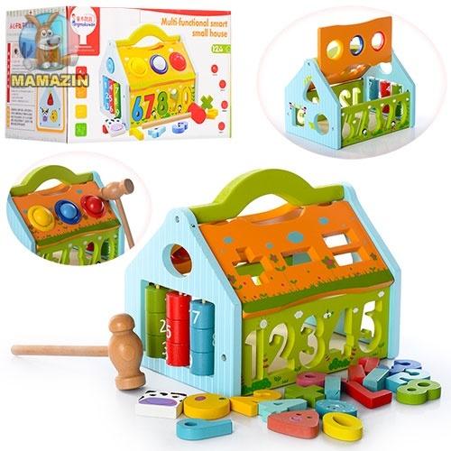"Деревянная игрушка ""Сортер"", стучалка, фигурки-цифры"
