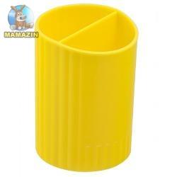 Подставка для ручек круглая на два отделения, желтая (уп)